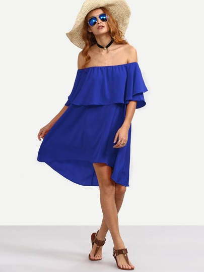 High Low Flounce Bardot Dress