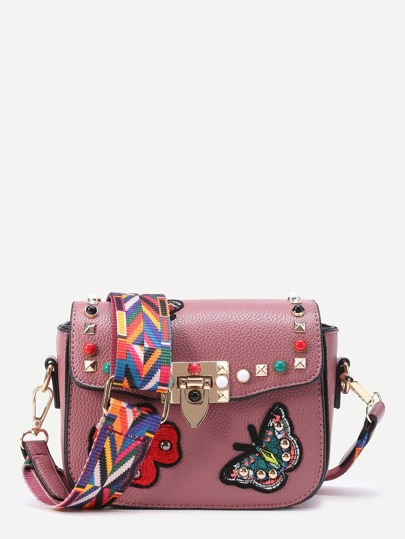 Studded And Butterfly Embroidery Shoulder Bag