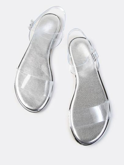 Open Toe Double Clear Strap Metallic Sandals SILVER