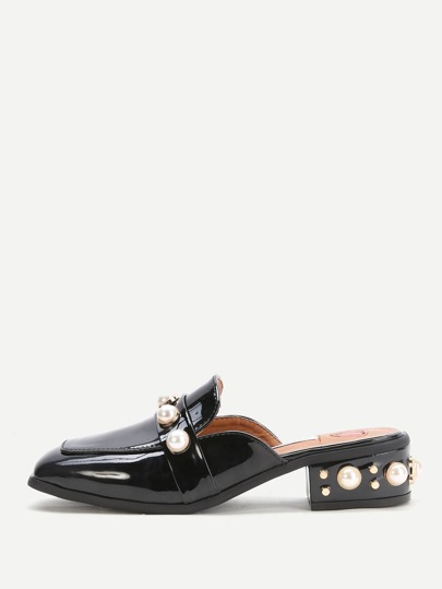 Black Faux Pearl Chunky Heeled Loafer Slippers