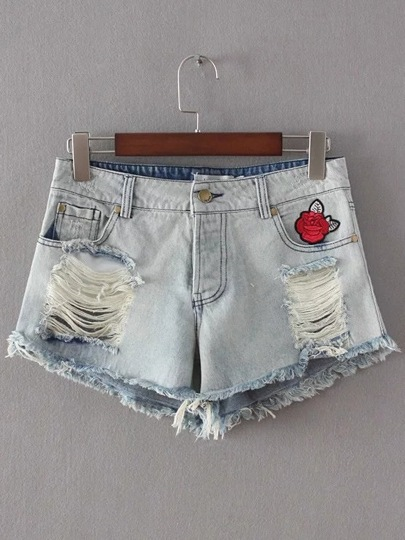 Blue Patch Embroidery Ripped Detail Denim Shorts