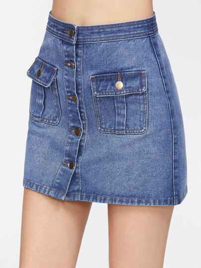 Flap Pocket Front Button Up Denim Skirt