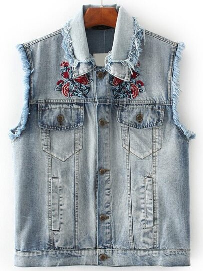 Blue Flower Embroidery Frayed Detail Denim Vest
