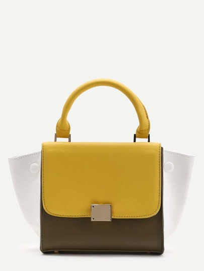 Color Block PU Satchel Bag