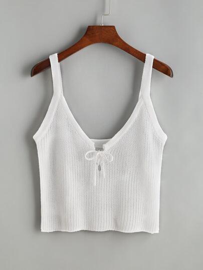 top tricot avec de la dentelle à l'avant - blanc