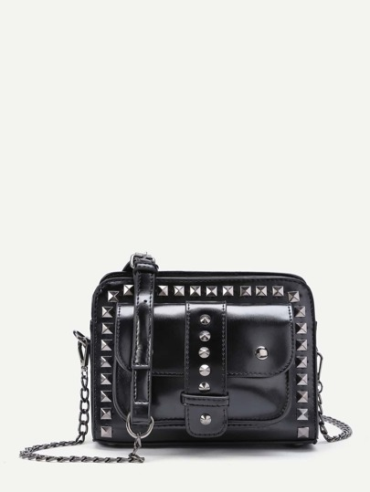 Studded Detail Buckle Crossbody Chain Bag