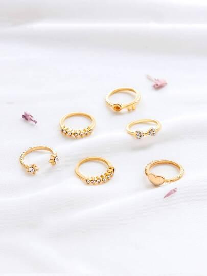 Set anillo con detalle de apliques cristales - dorado