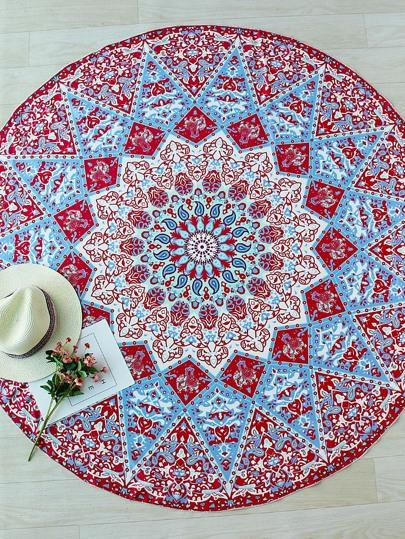 Red Geometric Print Boho Round Beach Blanket