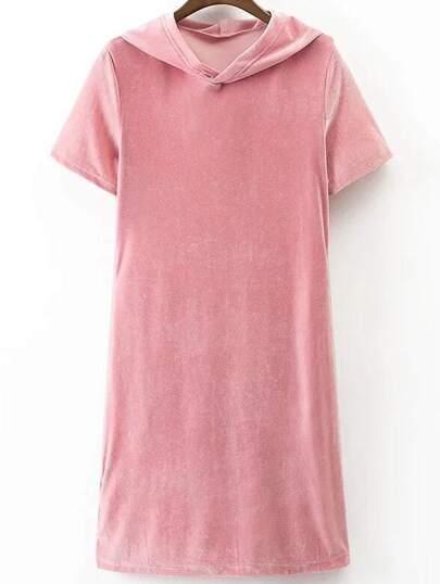 Vestido de capucha de terciopelo con mangas cortas - rosa