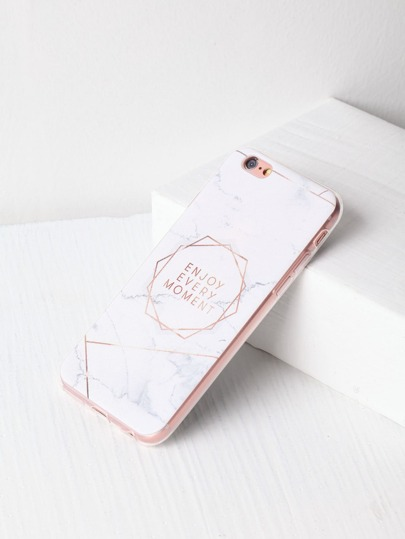Marble Pattern With Letter Print iPhone 6/6s Case