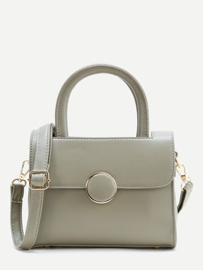 Ring Detail Satchel Bag With Double Handle
