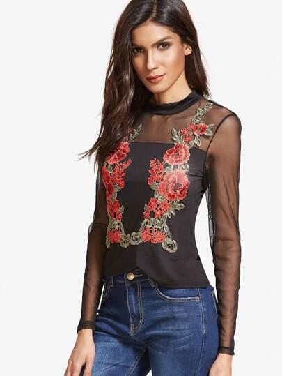 Shirt maille patch épaule rose - noir
