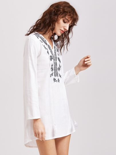 White Embroidered Tassel Tie Dip Hem Dress