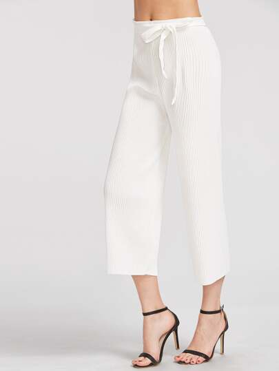 White Pleated Wide Leg Pants With Belt