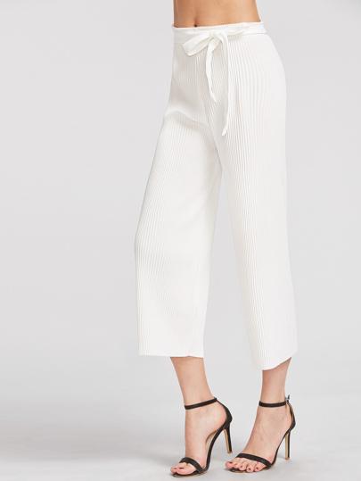 Pantaloni con fondo ampio ,con cintura, bianco