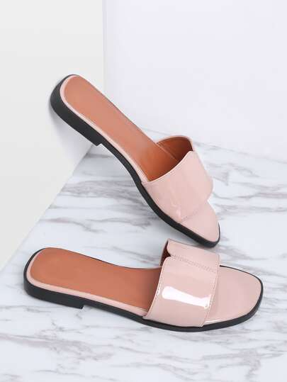 Pink Patent Leather Slide Flat Sandals