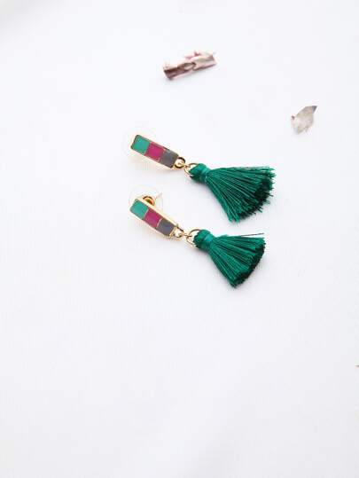 Green Tassel Drop Earrings