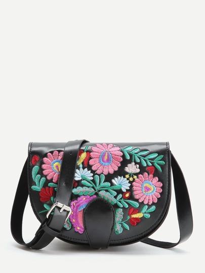 Black Flower Embroidery PU Saddle Bag