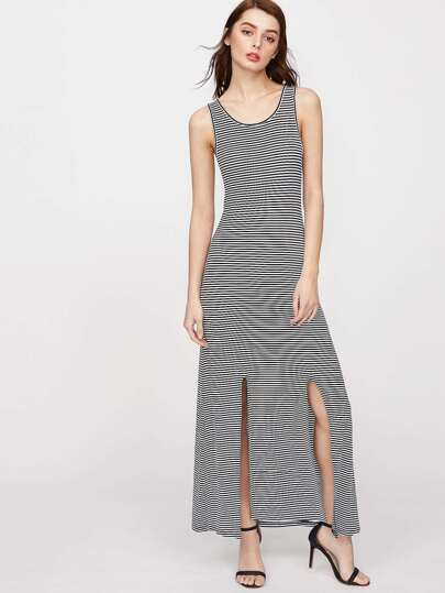 Striped M-Slit Tank Dress