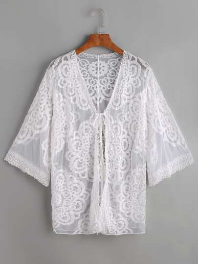 Embroidered Mesh Beach Cover Up