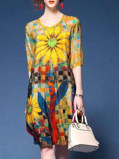Yellow V Neck Flowers Print Shift Dress