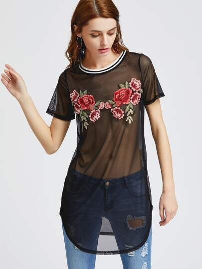 Embroidered Rose Patch Sheer Mesh Dress