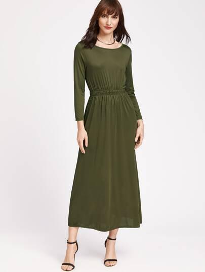 Vestido de cintura elástica - verde militar