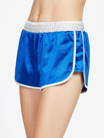 Contrast Binding And Waist Silky Dolphin Shorts
