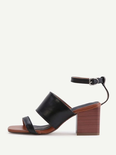 Black Ankle Strap Block Heeled Sandals