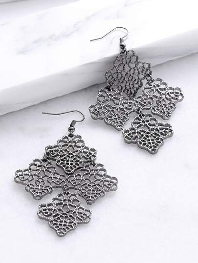 Black Flower Hollow Out Vintage Drop Earrings