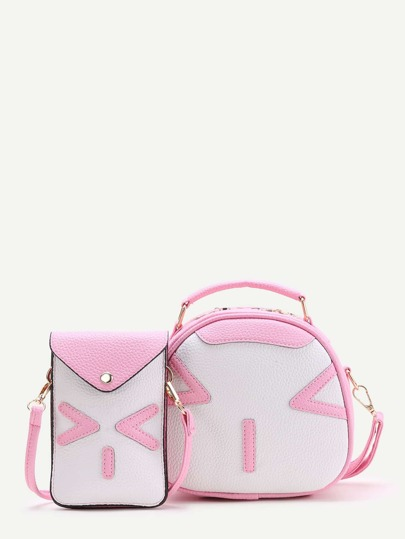 Pink Emoji Pattern Crossbody Bag With Pouch Bag