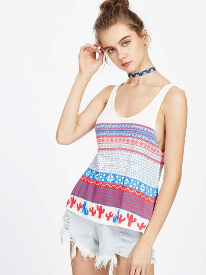 Tribal Print Low Side Tank Top