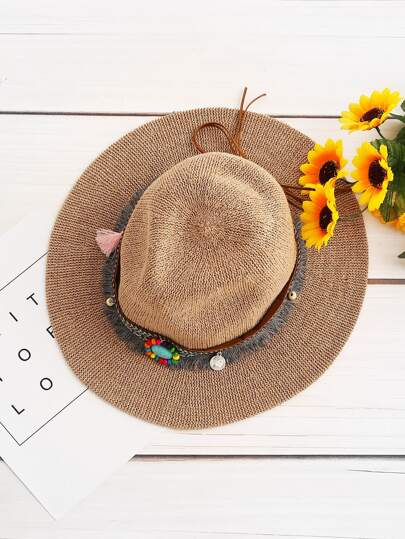 Détail Gemstone Fedora Straw Hat