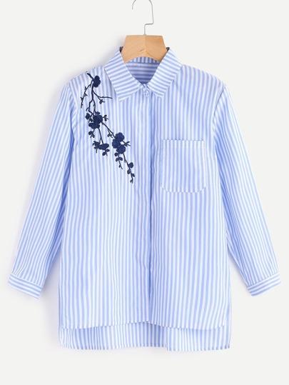Blusa de rayas verticales con bordado de flor