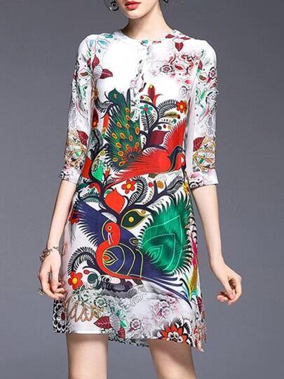 Multicolor Birds Print Shift Dress