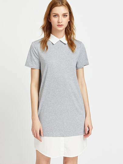 Vestido con cuello y bajo en contraste - gris