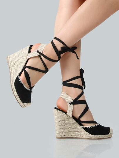 Faux Suede Espadrilles Lace Wedges BLACK CANVAS
