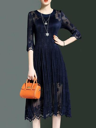 Navy Crew Neck Sheer Pleated Dress