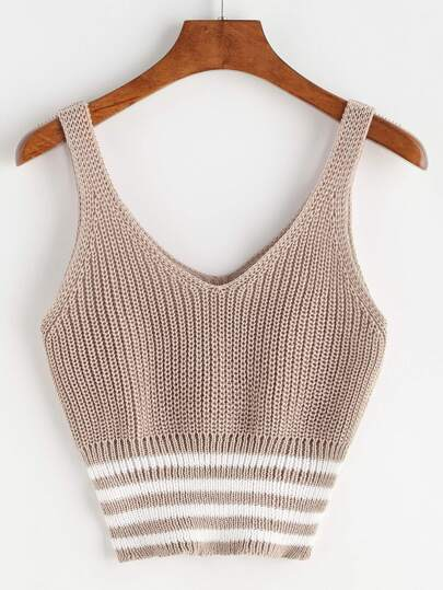 Double V Neck Striped Hem Knit Tank Top