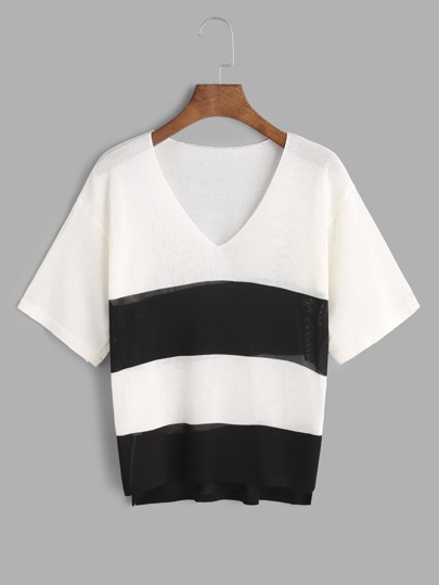 Color Block con scollo a V fessura laterale Alto Basso T-shirt