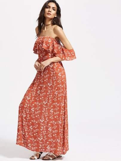 Vestido con estampado floral espalda con abertura hombro al aire con volantes - naranja