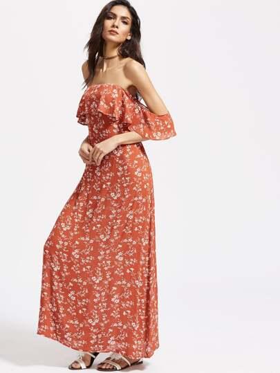 Flounce Layered Neckline Calico Print Cutout Back Dress