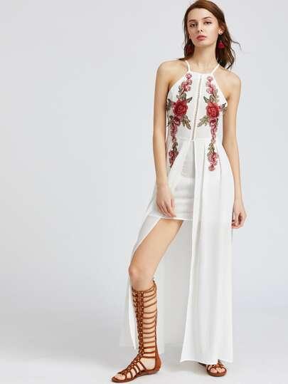 Vestido sin espalda con aplicaciones y abertura - blanco