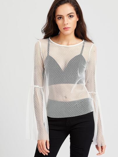 Trumpet Sleeve Sheer Dotted Mesh Top