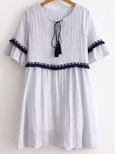Blue Tie Neck Fringe Trim Embroidered Tape Detail Dress