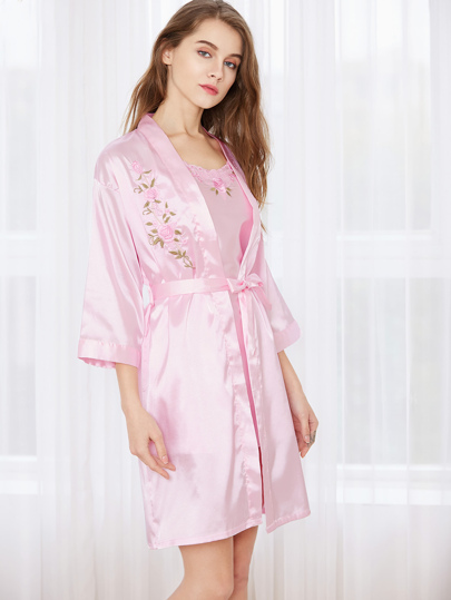 Pink Satin Embroidered Slip With Kimono Robe