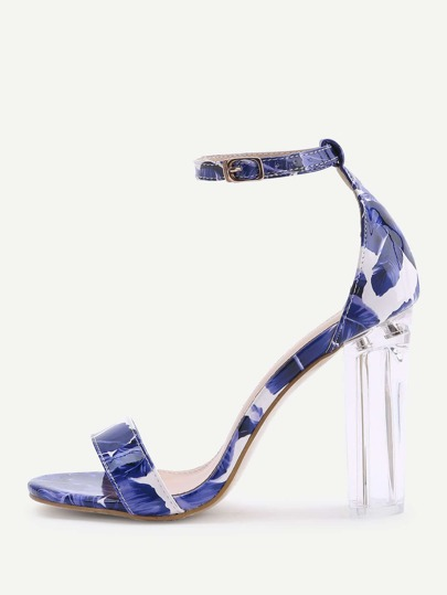 Blue Leaf Print Two Part Heeled Sandals