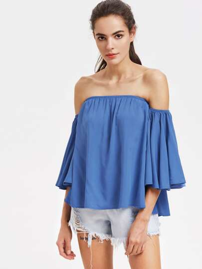Frill Sleeve Swing Bardot Top