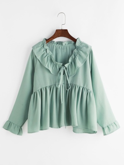 Bertha Collar Self Tie Smock Frill Blouse