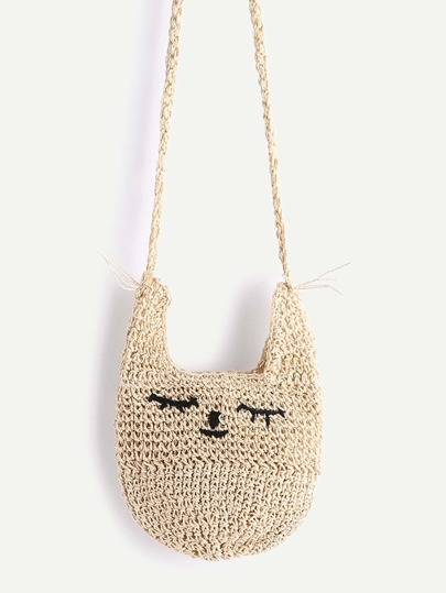 Beige Cat Shape Straw Crossbody Bag